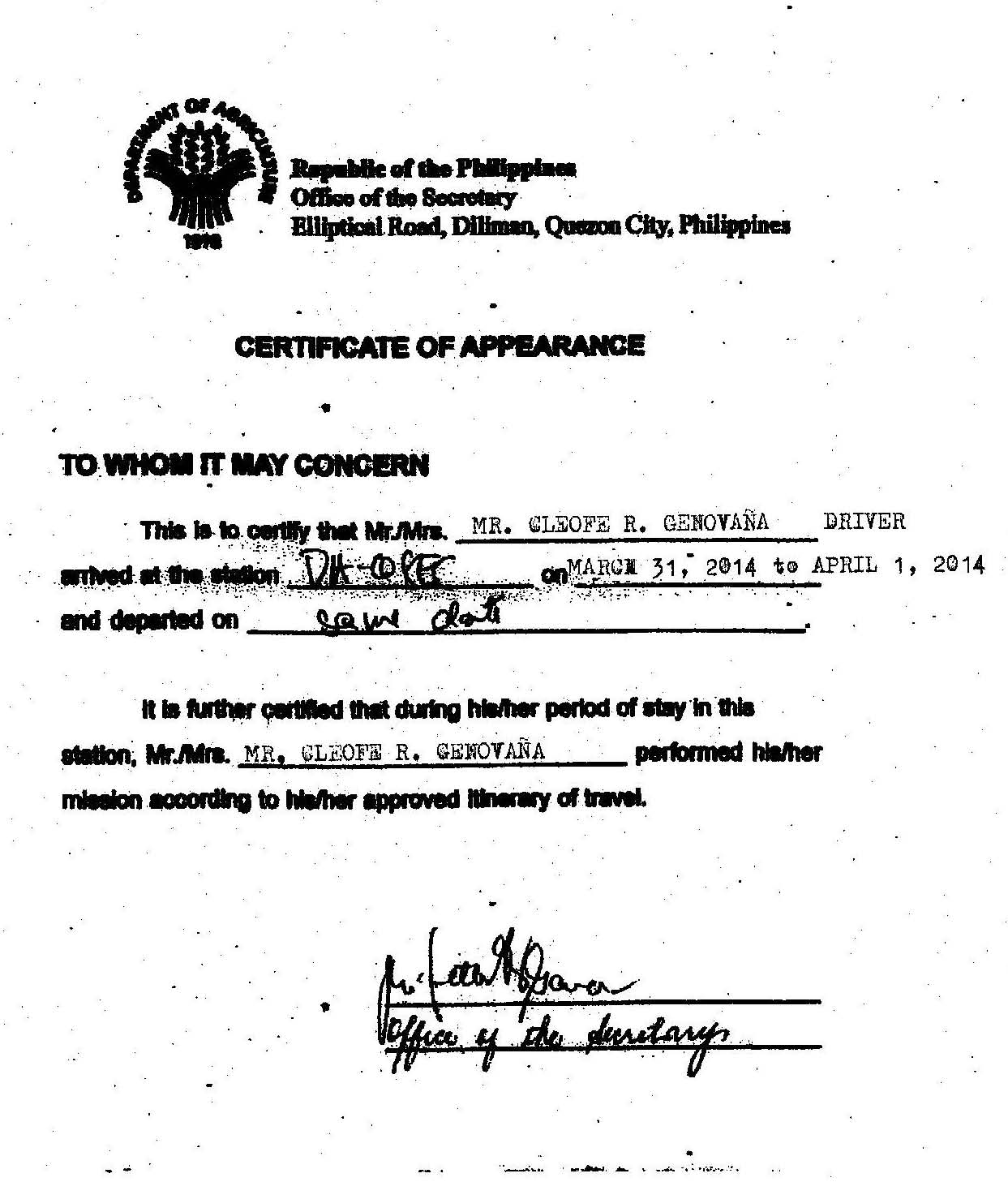 Certificate of Appearance March 31 - April 1, 2014