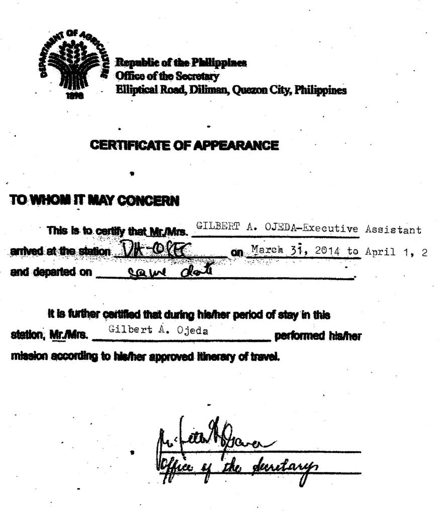 Certificate of Appearance March 31 - April 2, 2014