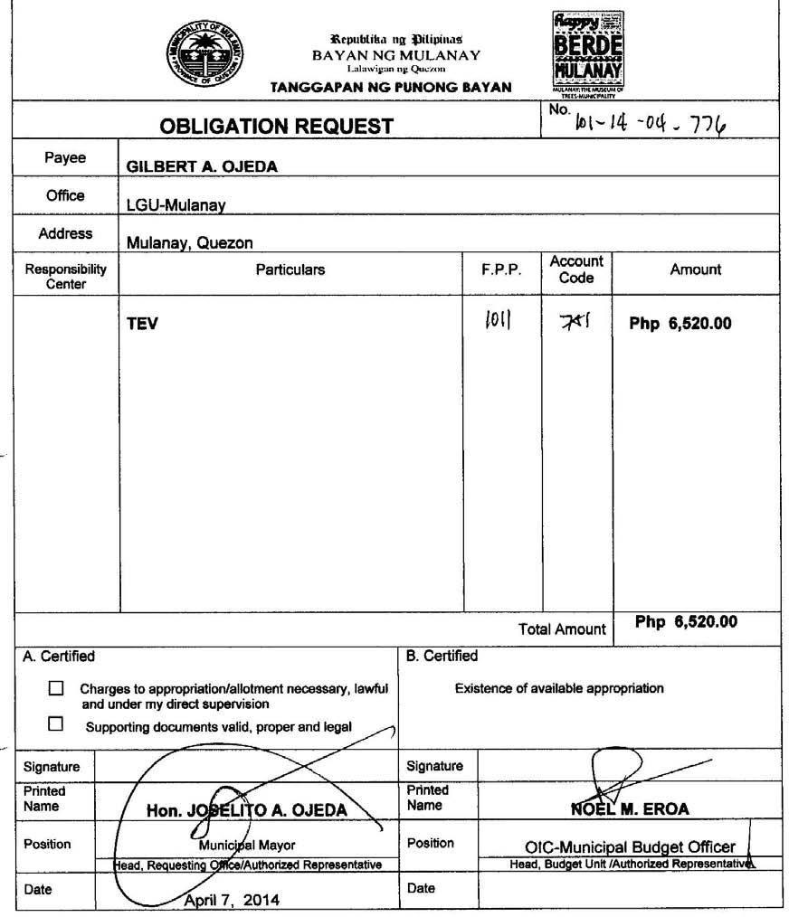 Obligation Request No.101-14-04-776