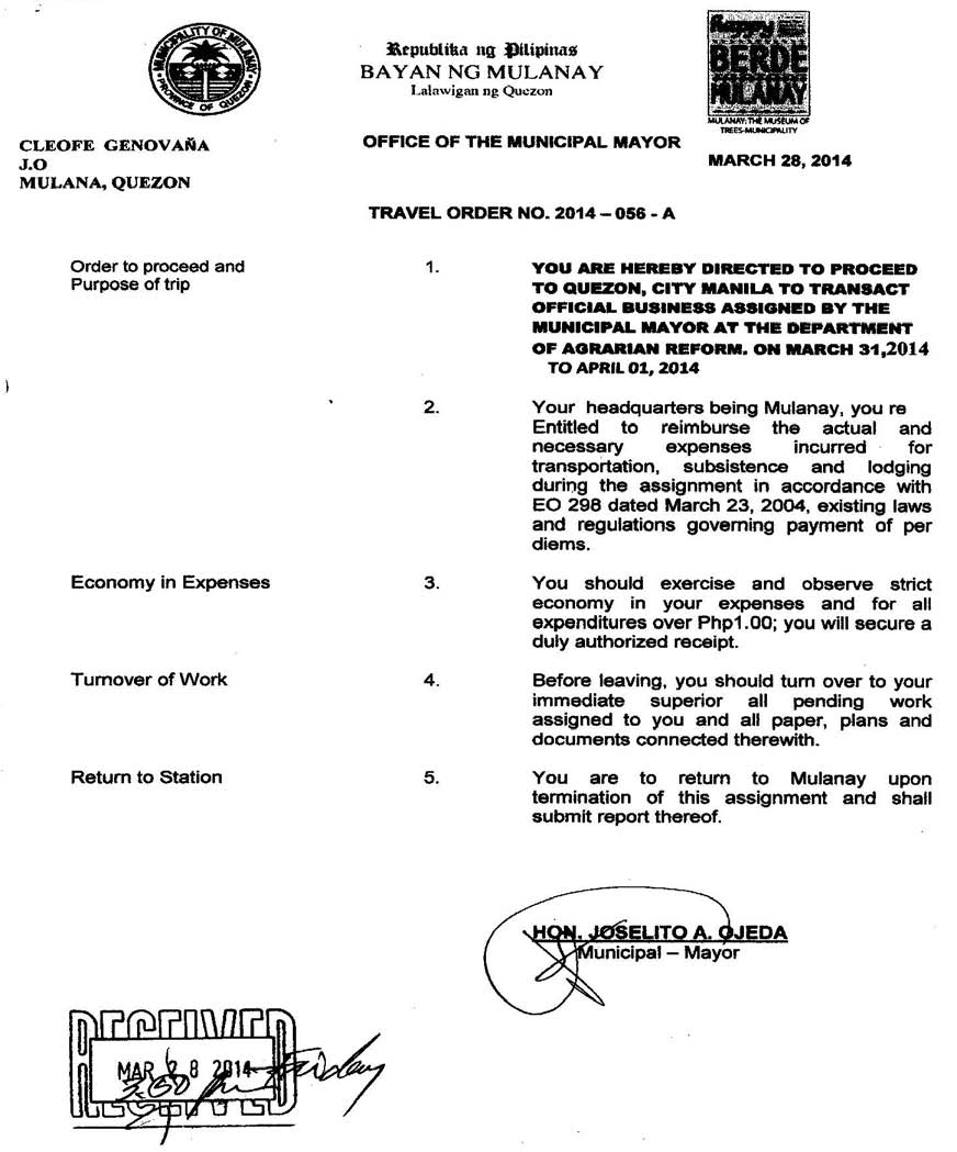Travel Order No. 2014-056-A