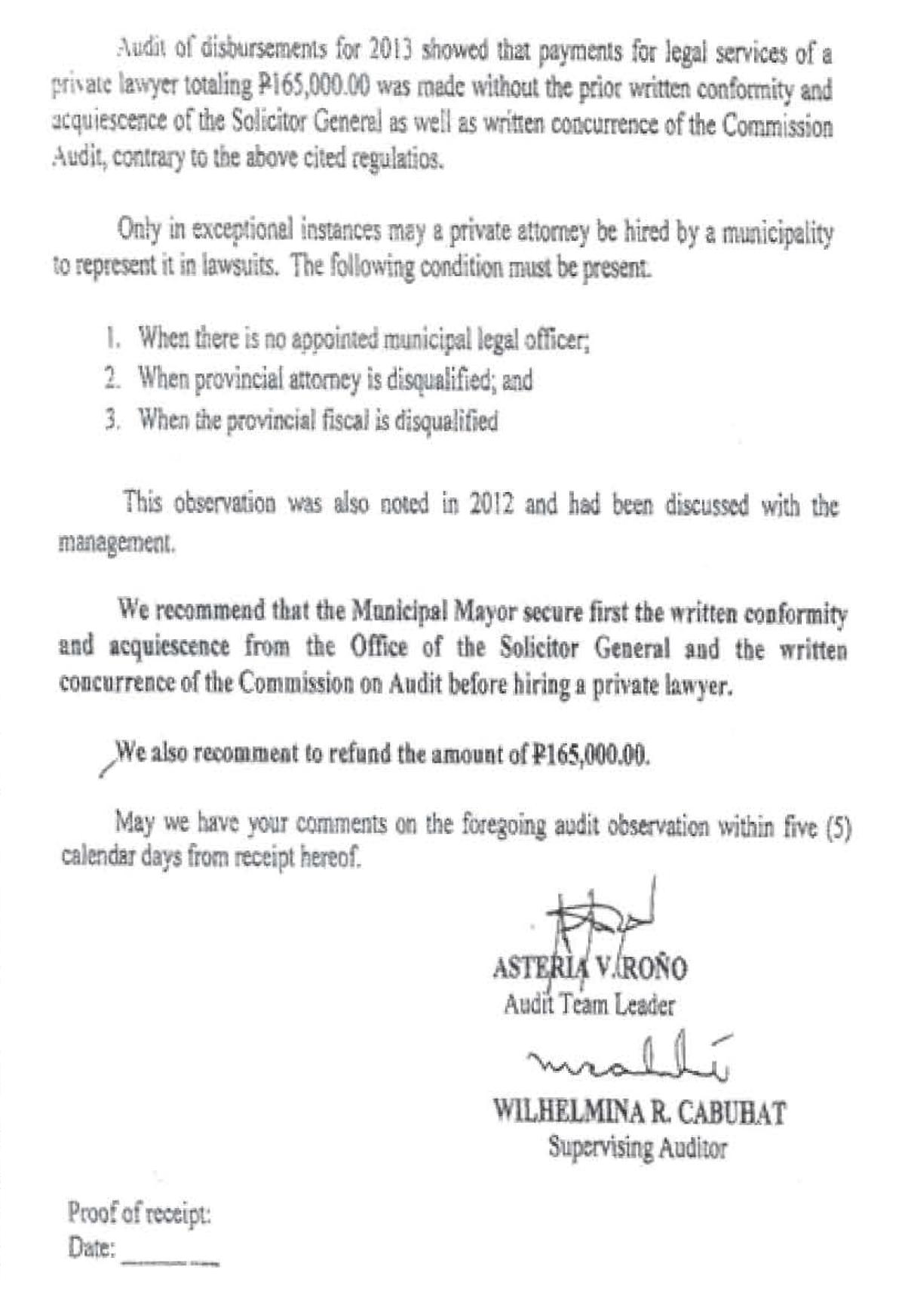 Audit Observation Memorandum page 2